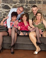 Three milf ladies fucking and two guys