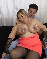 Naughty big breasted mature bbw playing with her toy boy