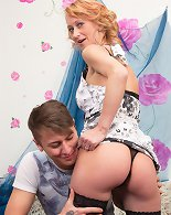 Horny housewife doing her way younger lover